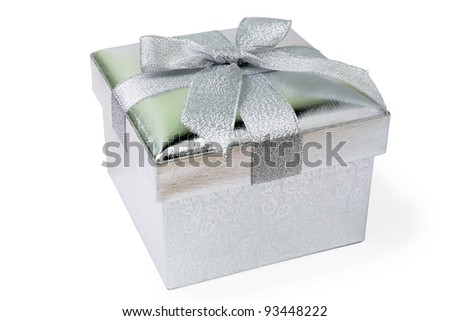 An image of silver gift box on white background - stock photo