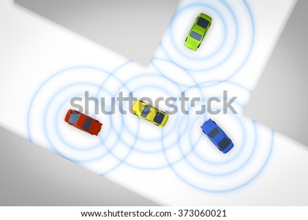 An image of some connected autonomous cars - stock photo