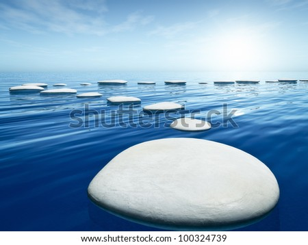 An image of some nice step stones in the blue sea - stock photo
