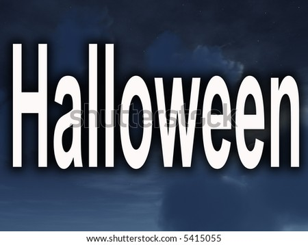 An image of some nightime clouds with the word Halloween in the foreground.