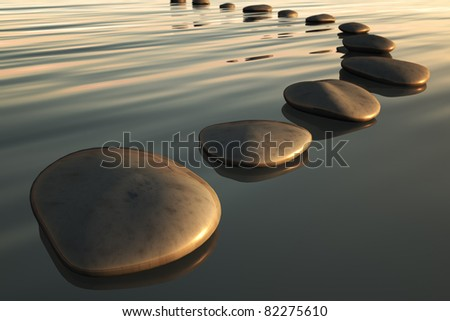 An image of some step stones to the sunset - stock photo