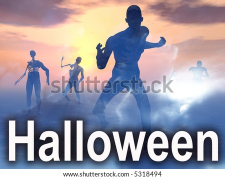 An image of some zombies with some clouds behind them, with the word Halloween in the foreground. - stock photo