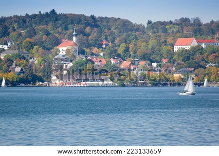 An image of Starnberg at autumn view from the lake - stock photo