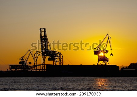 An Image of Sunset And Crane