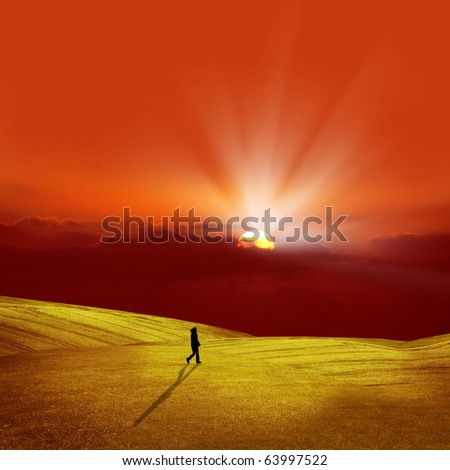an image of sunset and the fields - stock photo