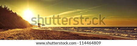 an image of sunset over baltic sea - stock photo