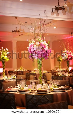an image of Table setting at a luxury wedding reception - stock photo