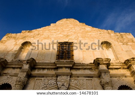 An image of the Alamo on a bright blue sky - stock photo
