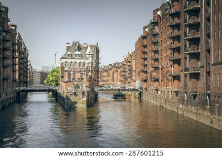 An image of the beautiful Wasserschloss in Hamburg Germany - stock photo