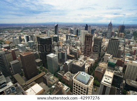 An image of the cityscape of Melbourne, Australia taken from the Rialto tower. - stock photo