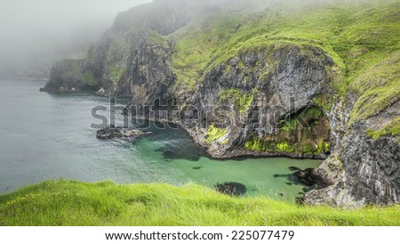 An image of the cliffs at carrick a rede ireland - stock photo