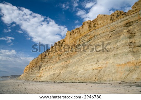An image of the cliffs that flank Torrey Pines State Reserve Park - stock photo