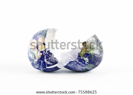 An image of the Earth as a broken egg split in two cracked halves. - stock photo