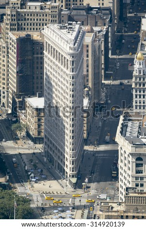 An image of the Flat Iron Building in New York - stock photo
