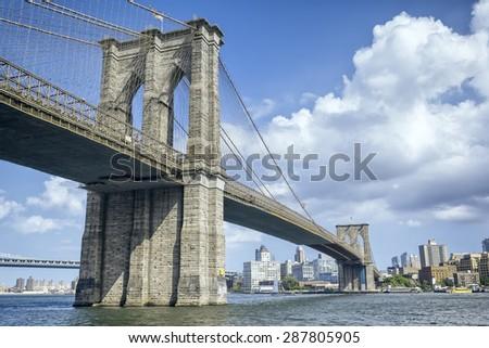 An image of the great Brooklyn Bridge in New York - stock photo
