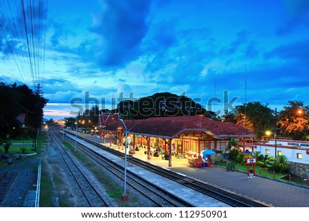 An image of the Hua Hin train station in Thailand. - stock photo