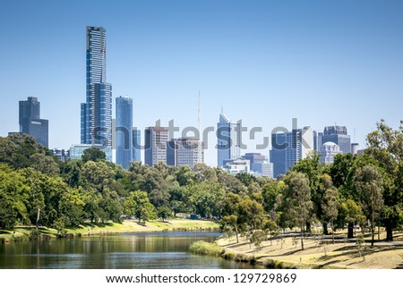 An image of the nice skyline of Melbourne - stock photo