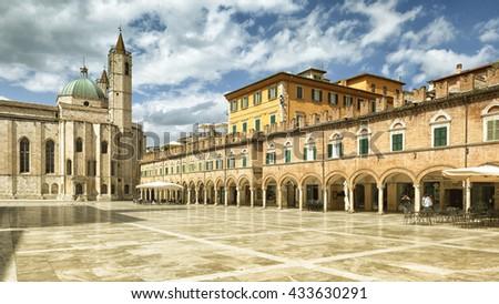 An image of the Piazza del Popolo in Ascoli Piceno Italy - stock photo