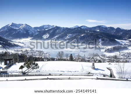 An image of the Schliersee at winter in Bavaria Germany - stock photo