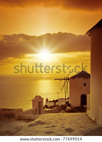 An image of the sunset at Santorini island of Greece - stock photo
