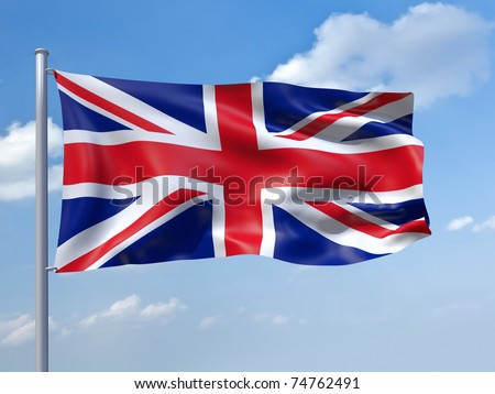 An image of the uk flag in the blue sky - stock photo