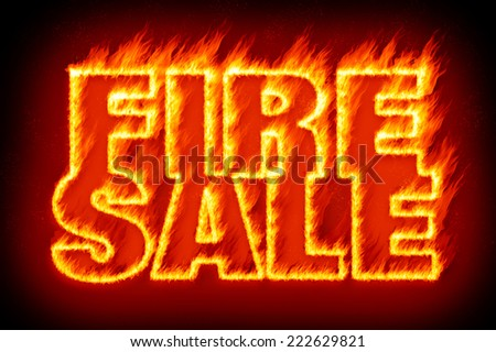 An image of the word fire sale in flames - stock photo