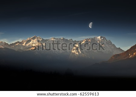 An image of the Zugspitze in Bavaria Germany - stock photo