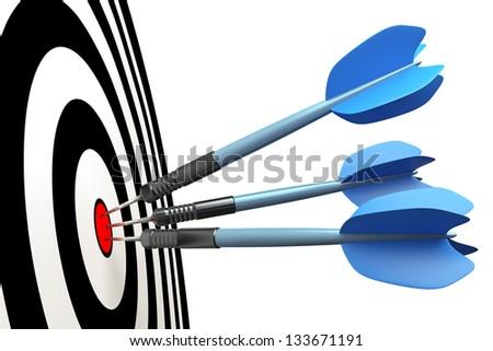 An image of three blue dart arrows - stock photo