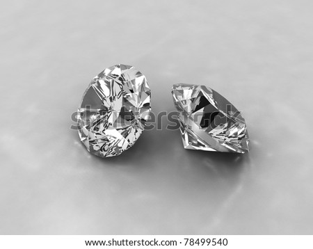 An image of two cut diamonds on a white background - stock photo