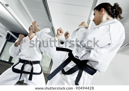 An image of two fighting martial arts master - stock photo