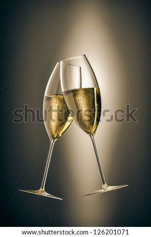 An image of two glasses of sparkling wine - stock photo