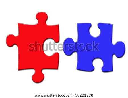 An image of two puzzle pieces over white background