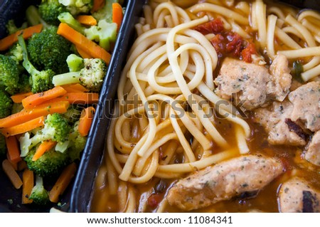 An image of unappealing tv dinner of chicken - stock photo