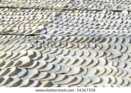 An image of uncooked prawn crackers being laid out to dry.