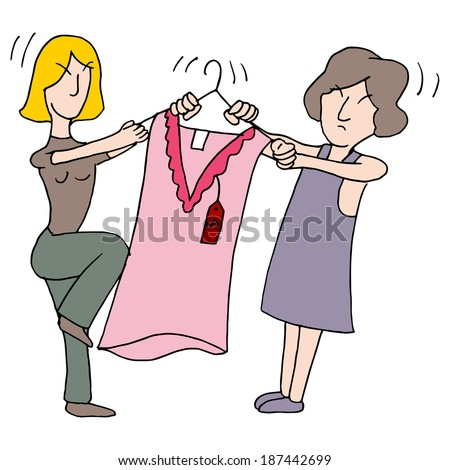 An image of women fighting over a dress.