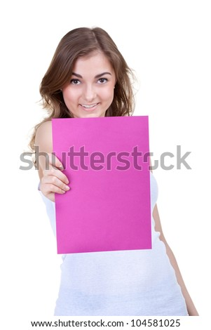 An image of young beautiful girl  holding sheet of paper, isolate on white