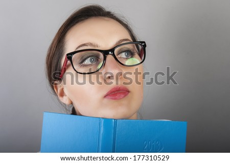 an image of young female student learns