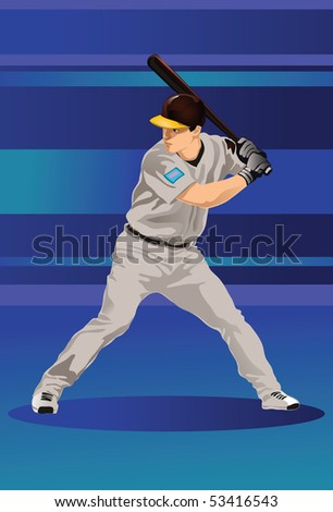 An image showing a baseball player holding a bat and ready to strike a baseball - stock photo