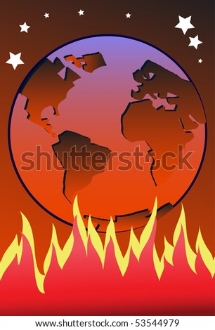 An image showing a reddish color Earth under which flames are burning high and heating up the Earth - stock photo