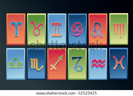 An image showing the symbols of all the 12 signs of the zodiac - stock photo