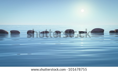 An image with some step stones in the ocean - stock photo