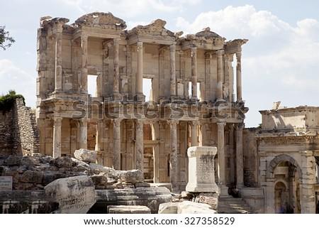 an important archaeological monument of Ephesus, Turkey - stock photo