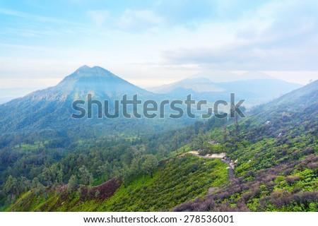 An inactive volcano at kawah ijen indonesia - stock photo