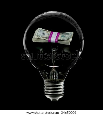 An incandescent lightbulb with a bundle of money inside representing the high cost of electricity due to incandescent light.