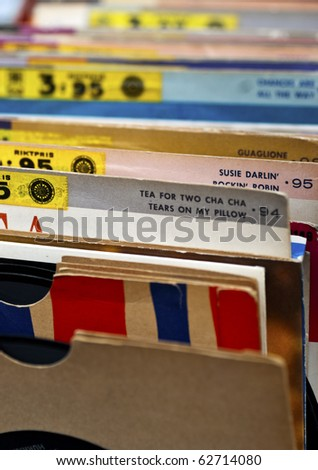 An indexed collection of old vinyl records - stock photo