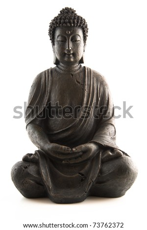An indian Buddha statue on white background - stock photo