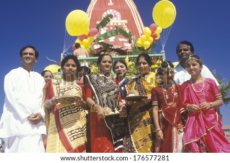 An Indian Festival of Chariots in Santa Monica California - stock ...