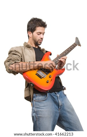 An Indian guitar player - isolated in white