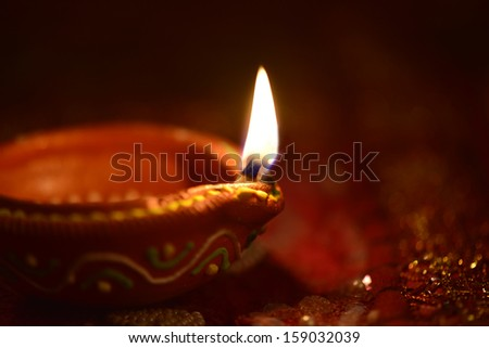An Indian lamps on dark background. - stock photo