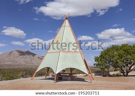 An Indian Teepee set up at Highway Picnic Area - stock photo